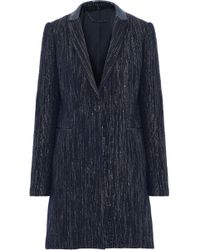 Elie Tahari - Pam Iridescent Leather-trimmed Metallic Felt Coat Storm Blue - Lyst