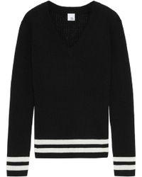 Iris & Ink - Woman Jemima Striped Ribbed Wool-blend Sweater Black - Lyst
