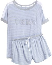 DKNY - Embroidered Printed Jersey Pyjama Set - Lyst