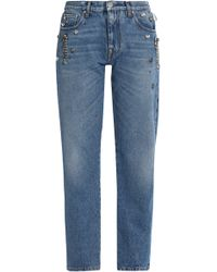 MSGM - Crystal-embellished Mid-rise Straight-leg Jeans - Lyst