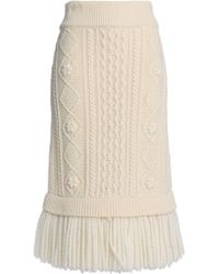 RED Valentino - Fringed Cable-knit Wool Midi Skirt - Lyst