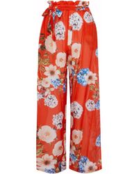 Nicholas - Belted Floral-print Cotton And Silk-blend Wide-leg Pants Tomato Red - Lyst