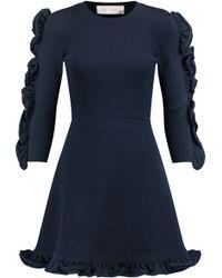 Victoria, Victoria Beckham - Ruffle-trimmed Ribbed Stretch-knit Mini Dress - Lyst