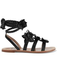 Tory Burch - Blossom Gladiator Appliquéd Leather Sandals - Lyst
