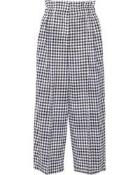 Sonia Rykiel - Cropped Gingham Wool Wide-leg Pants - Lyst
