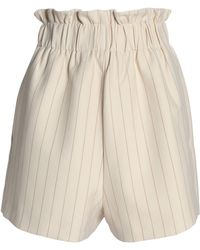Ganni | Gathered Pinstriped Crepe De Chine Shorts | Lyst