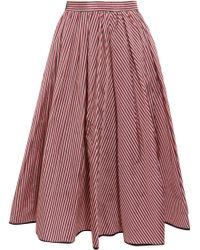 TOME | Striped Taffeta Midi Skirt | Lyst