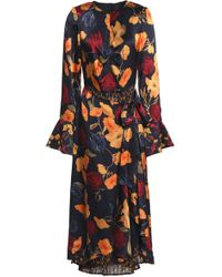 Mother Of Pearl Elodie Layered Floral-print Silk-satin And Crepe De Chine Midi Dress Midnight Blue