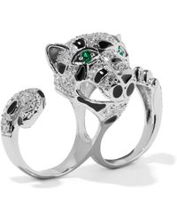 CZ by Kenneth Jay Lane - Silver-tone, Crystal And Enamel Two-finger Ring - Lyst