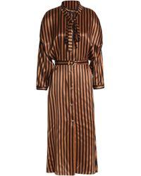 Nina Ricci - Pussy-bow Striped Silk-satin Midi Shirt Dress Light Brown - Lyst