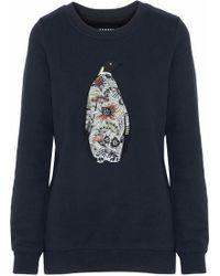 Markus Lupfer - Anna Arctic Penguin Embellished Cotton-fleece Sweatshirt - Lyst