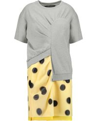 Marc By Marc Jacobs - Panelled Cotton-jersey And Printed Faux Leather Mini Dress - Lyst