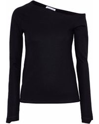 Helmut Lang - One-shoulder Wool-blend Jersey Top - Lyst