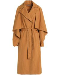 Rosetta Getty - Cape-effect Belted Woven Trench Coat - Lyst