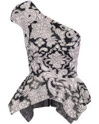 Roland Mouret - One-shoulder Fil Coupé Cotton And Silk-blend Gauze Peplum Top - Lyst