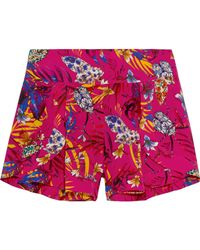 Matthew Williamson - Printed Washed-silk Shorts Bright Pink - Lyst