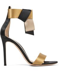 Gianvito Rossi - Geisha Bow-embellished Satin Sandals - Lyst