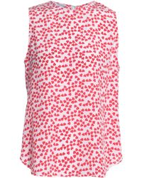 Equipment - Woman Lyle Printed Washed-silk Blouse Pastel Pink - Lyst