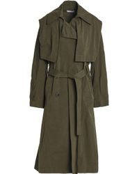 Vince - Double-breasted Woven Trench Coat Army Green - Lyst