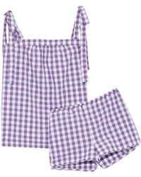 Three J Nyc - Gingham Cotton Top And Short Pajama Set - Lyst