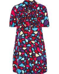 Love Moschino - Pussy-bow Ruffled Printed Twill Mini Dress - Lyst