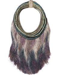 Rosantica - Fringed Gold-tone Beaded Stone Necklace Light Green - Lyst