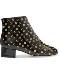 RED Valentino - Embellished Patent-leather Ankle Boots - Lyst