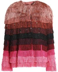 Marco De Vincenzo - Woman Striped Fringed Satin Jacket Multicolour - Lyst
