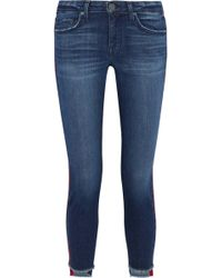 Joie - Bon Voyage Cropped Satin-trimmed Mid-rise Skinny Jeans - Lyst