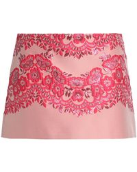 RED Valentino - Metallic Floral-jacquard Mini Skirt - Lyst