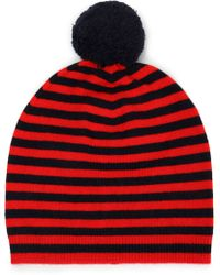 Chinti & Parker - Pompom-embellished Striped Wool And Cashmere-blend Beanie - Lyst