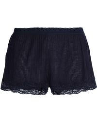 Stella McCartney - Woman Lace-trimmed Ribbed Jersey Pajama Shorts Navy -  Lyst 530c602c6