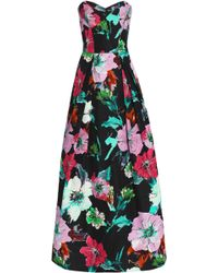 MILLY - Ava Strapless Floral-print Cotton-blend Faille Gown - Lyst