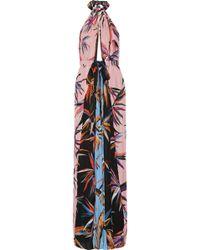 Emilio Pucci - Printed Silk Crepe De Chine Halterneck Maxi Dress - Lyst