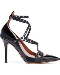 Valentino - Love Latch Eyelet-embellished Two-tone Patent-leather Court Shoes - Lyst