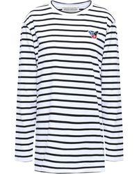 Être Cécile - Être Cécile Appliquéd Striped Cotton-jersey Top White - Lyst
