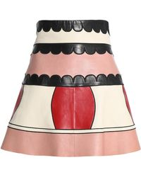 RED Valentino - Embroidered Leather Mini Skirt Pastel Pink - Lyst