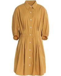 Sonia Rykiel - Gathered Cotton-blend Poplin Dress - Lyst