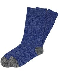 The Workers Club - Blue And Grey Chunky Cotton Socks 2-pack - Lyst
