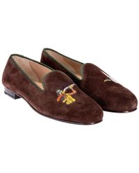 Stubbs & Wootton - Brown Suede Duck Hunting Embroidered Slippers - Lyst