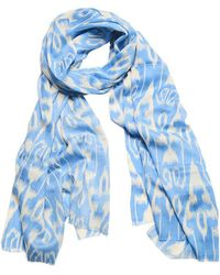 Anderson & Sheppard - Sky And Cream Ikat Silk And Cashmere Scarf - Lyst