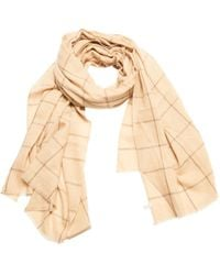 Anderson & Sheppard - Light Natural Cashmere Windowpane Check Scarf - Lyst