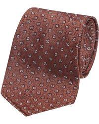 Fumagalli 1891 - Orange Mini Square Pattern Florida Silk 5-fold Tie - Lyst