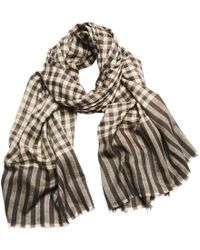 Anderson & Sheppard - Charcoal And Ivory Tartan Check Cashmere Scarf - Lyst