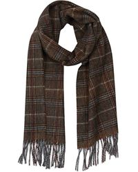 Gieves & Hawkes - Orange, Grey And Burgundy Check Cashmere Scarf With Fringing - Lyst