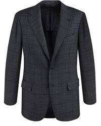 Ring Jacket - Grey Windowpane Check Calm Twist Wool Suit - Lyst