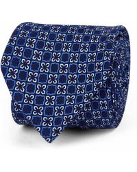 Rubinacci - Blue And White Floral Silk Tie - Lyst
