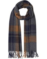Begg & Co - Navy And Brown Lambswool And Angora Jura Scarf - Lyst