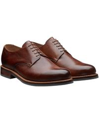 Grenson - Tan Grain Leather Curt Derby Shoes - Lyst