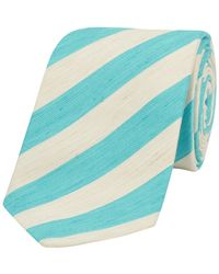 Calabrese 1924 - Turquoise Striped Silk-linen Ibiza Tie - Lyst